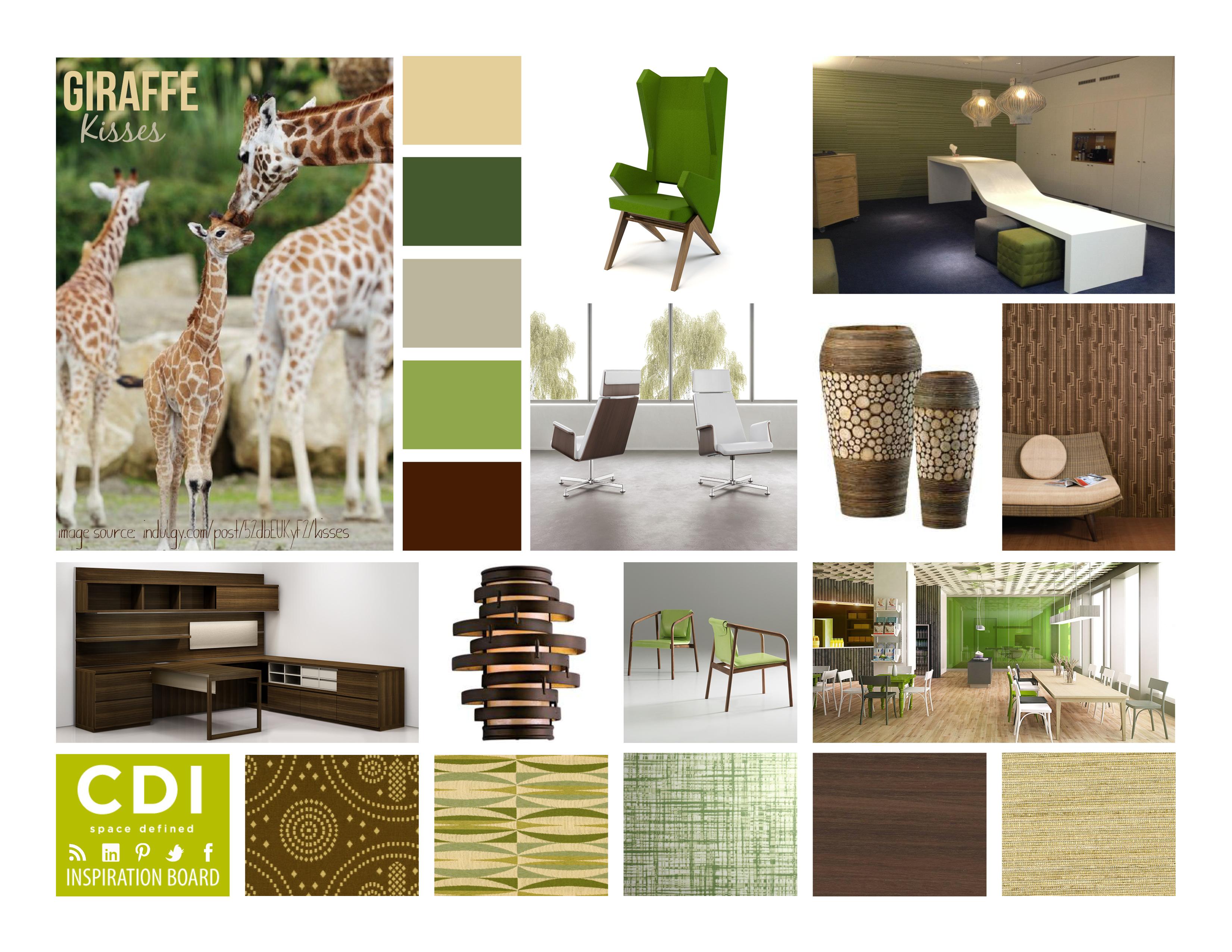 Cdi inspiration board giraffe kisses for Cdi interior design