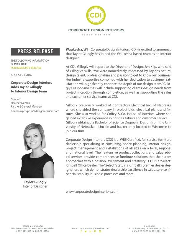 CDI Adds Taylor Gillogly to Interior Design Team