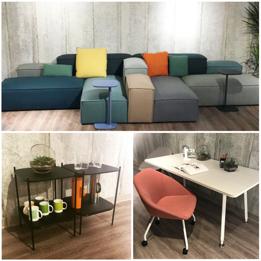 CDI at Allermuir Chicago Showroom: Paver Sofa System, Famiglia Chair, Mozaik Tables
