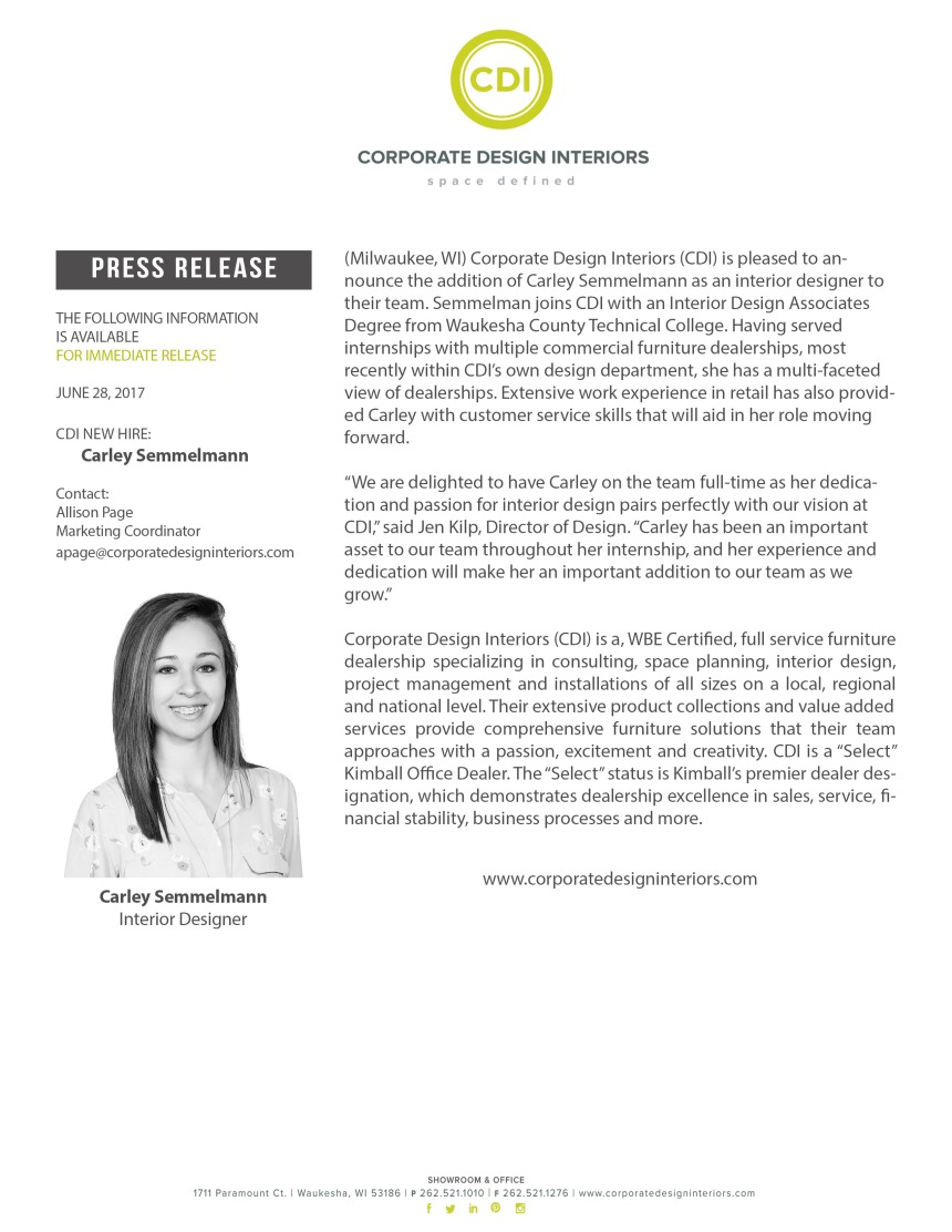 CDI New Hire in Design Department - Carley Semmelmann