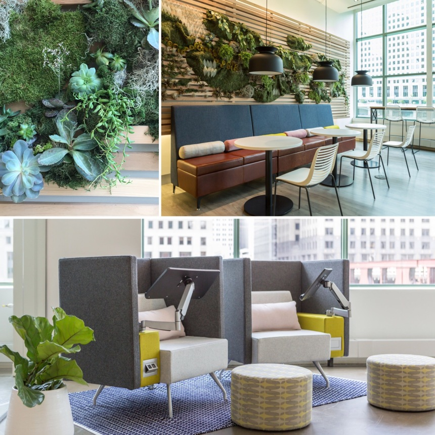 CDI at Kimball Office Chicago Showroom: Living Wall; Villa, Dock, Pep, & Custom Bars; Pairings & Dwell