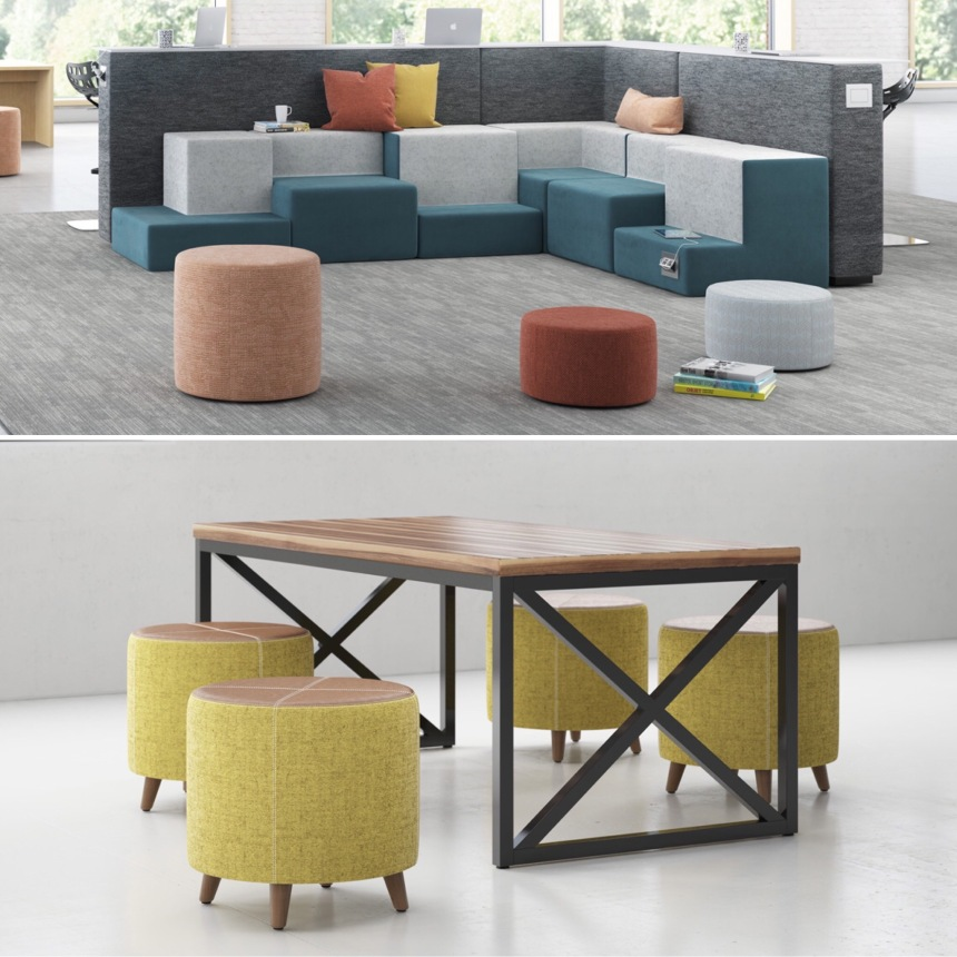Kimball New Product Review by CDI: Pairings Perch, fiXt Table/Dwell Ottomans