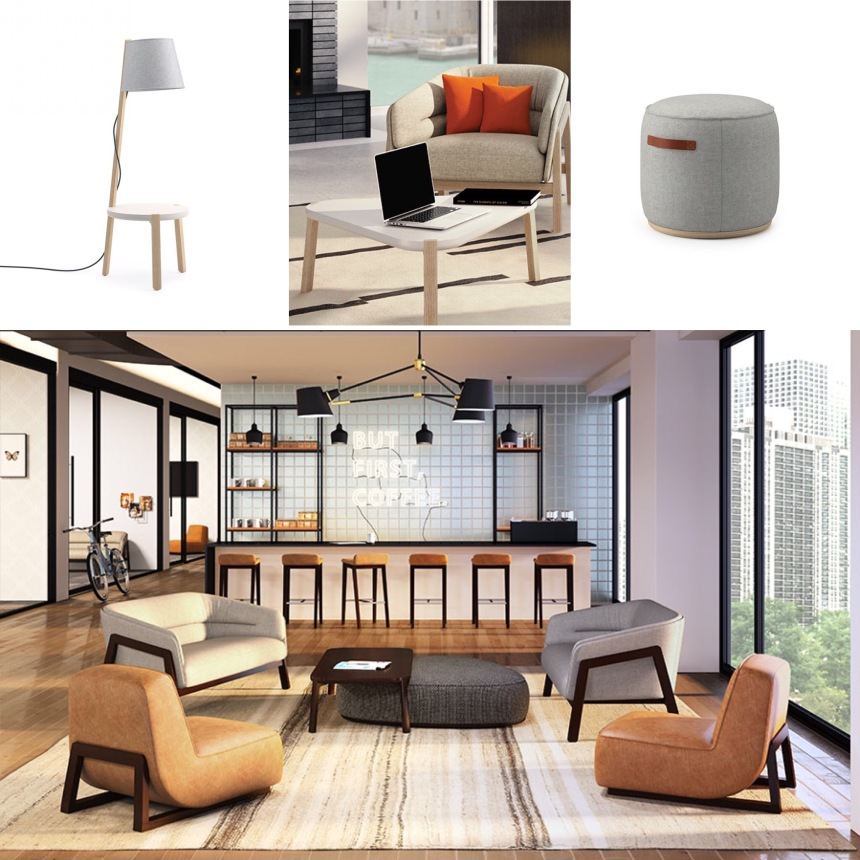JSI New Product Review by CDI: Indie Lounge Collection (tables, pillows, seating, poufs) and Bourne Stools