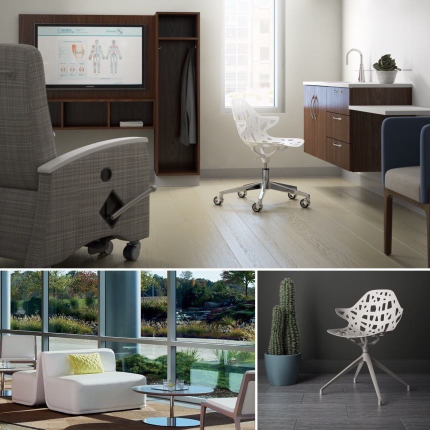 CDI Features Medical Spa Design; Kimball Alterna, Kimball Lusso, Cumberland Elle Seating, Table and Revo Lounge