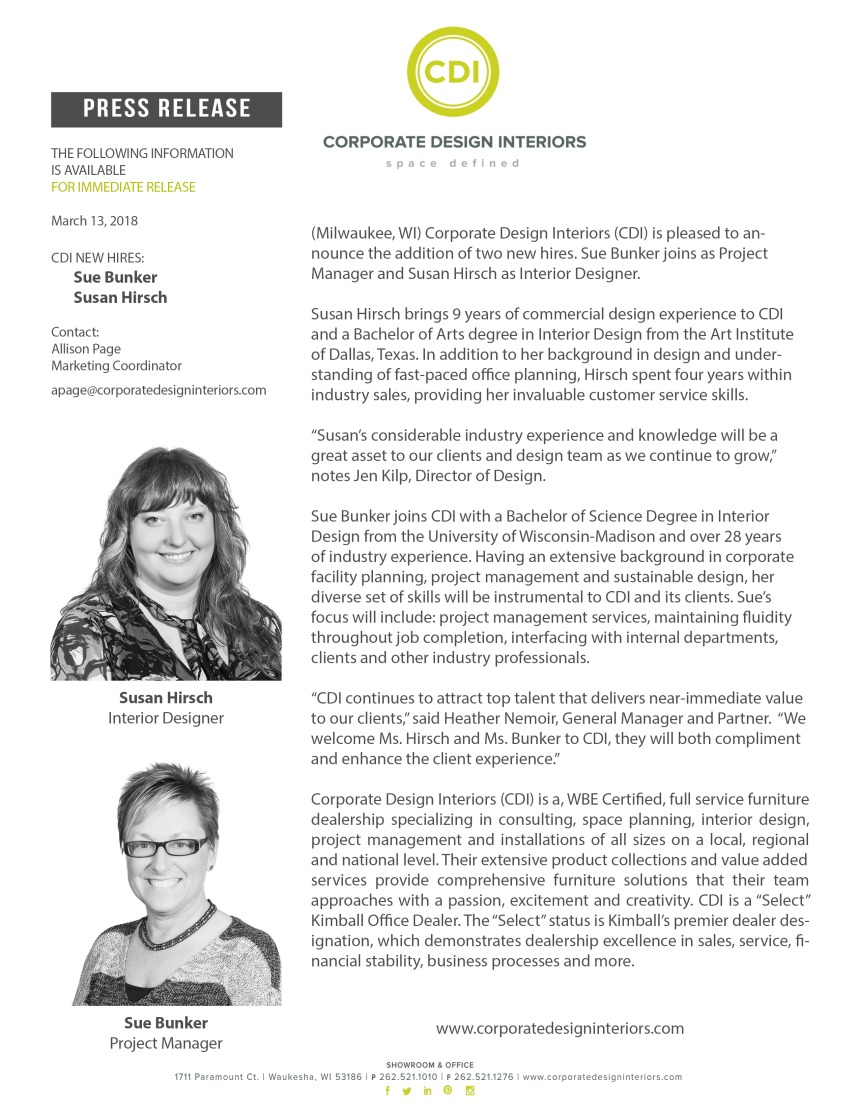 CDI New Hires - Sue Bunker and Susan Hirsch